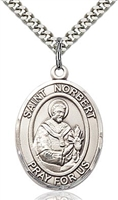 "St Norbert Sterling Silver on 24"" Chain"
