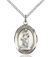 "St. Barbara Sterling Silver on 18"" Chain"
