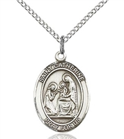 "St. Catherine of Siena Sterling Silver on 18"" Chain"