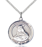"St Rose of Lima Sterling Silver on 18"" Chain"