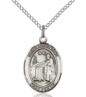 "St Valentine Sterling Silver on 18"" Chain"