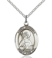 "St. Bridget of Sweden Sterling Silver on 18"" Chain"