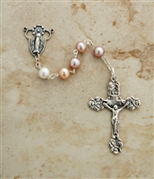 6mm Pearl sterling silver beaded rosary