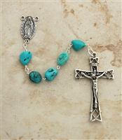 Sterling Silver Turquoise Nugget Rosary