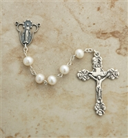 6mm freshwater Pearl sterling silver beaded rosary