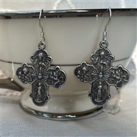 4 Way Silver Cross Earrings