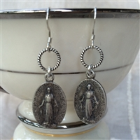 Miraculous Mary Silver Earrings
