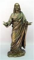 "WELCOMING JESUS 12.25"" BRONZE, LIGHTLY PAINTED VERONEESE"