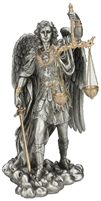 "St Michael the Archangel, Scales of Justice 11"" Pewter Statue"