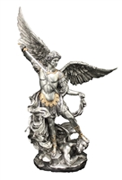 "St Michael the Archangel- Hand- 10"" Inch Pewter Statue"