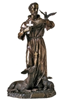 "Bronze St. Francis Lightly Painted 36"" Indoor/Outdoor"