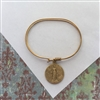 Antique Miraculous Medal Gold Bangle