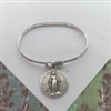 Antique Miraculous Medal Sterling Silver Bangle