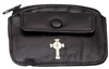 Black Leather Rosary Pouch With Snap Pocket