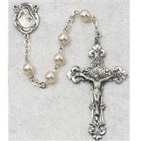 6MM Pearl Sterling Silver Rosary