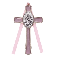 Pink Enameled Pewter Guardian Cross