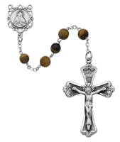 6MM Tiger Eye Sterling Silver Rosary