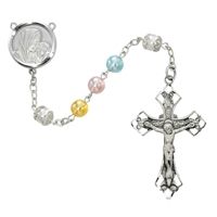 7MM multi-color Peral Sterling Silver Rosary