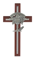 "6"" Cherry & Pewter First Communion Wall Cross"