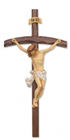 "16"" WALNUT BENT LOG CRUCIFIX"