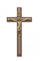"10"" WALNUT CRUCIFIX BLACK OVERLAY"