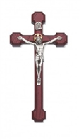 10 Inch Cherry Cruciifix with Silver Corpus with Gold Halo