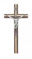 "10"" WALNUT CRUCIFIX W/SILVER"