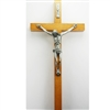 "8"" WALNUT ECONOMICAL CRUCIFIX SIL CORPUS"
