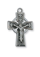 "Pewter Celtic Crucifix on 18"" Chain"