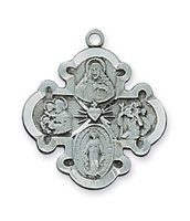 "Four Way Pewter Cross with 20"" Chain"