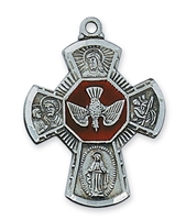 "Four Way Pewter Cross with Holy Spirit on 24"" Chain"