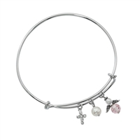 Silver Bangle Bracelet with Cross