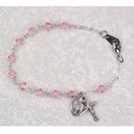 First Communion Pink Crystal Bracelet