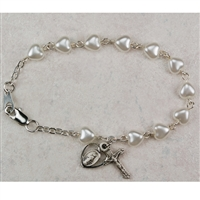 First Communion Heart Pearl Bracelet