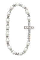 First Communion pearl Cross Stretch Bracelet