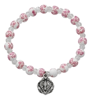 Pink and White Ceramic Stretch Bracelet