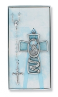 Baptism crib cross and rosary