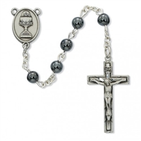 First Communion Rosary 6mm Hematite with Chalice Center