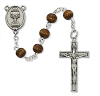 First Communion Rosary 6mm Brown Wood with Chalice Center