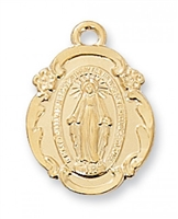 "Miraculous Medal Gold/Sterling  18"" chain"