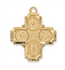 "4 Way Gold Cross 18"" Chain"