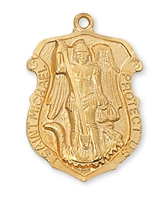 St Michael Shield Gold Plated 24""