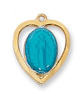 "Blue Enameled Miraculous Medal Gold/SterlingHeart on 18"" Chain"