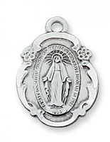 "Blue Enamel Miraculous Medal Sterling  18"" chain"