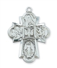 "4 Way Cross Sterling Silver 24"" Chain"