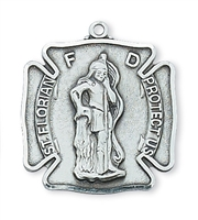 "St Florian Sterling Silver Medal on 24"" Chain"