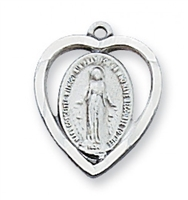 "Miraculous Medal  - Sterling Silver on 18"" Chain"