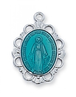 "Miraculous Medal - Blue Enamel Sterling Silver on 18"" Chain"