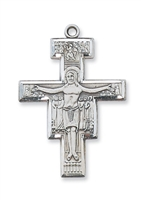 "Sterling Silver San Damiano Crucifix with 24"" Chain"