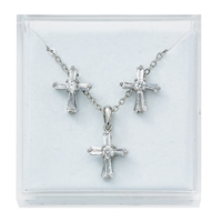 Crystal Cross Earrings and Pendant